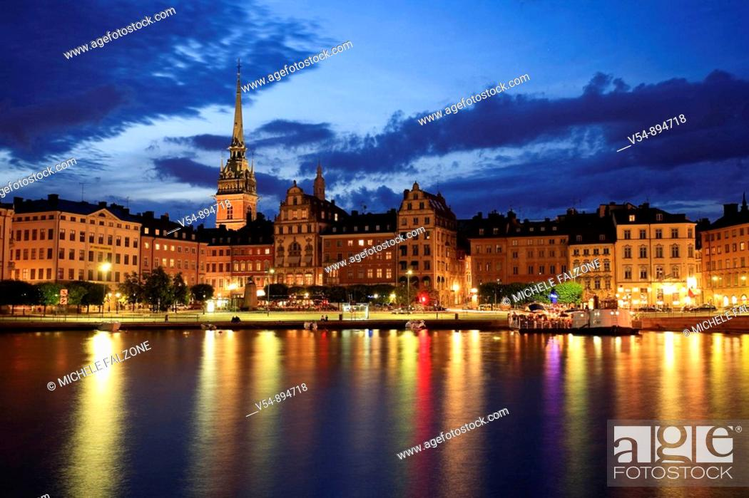 Stock Photo: Gamla Stan and Riddarholm Church, Stockholm, Sweden.