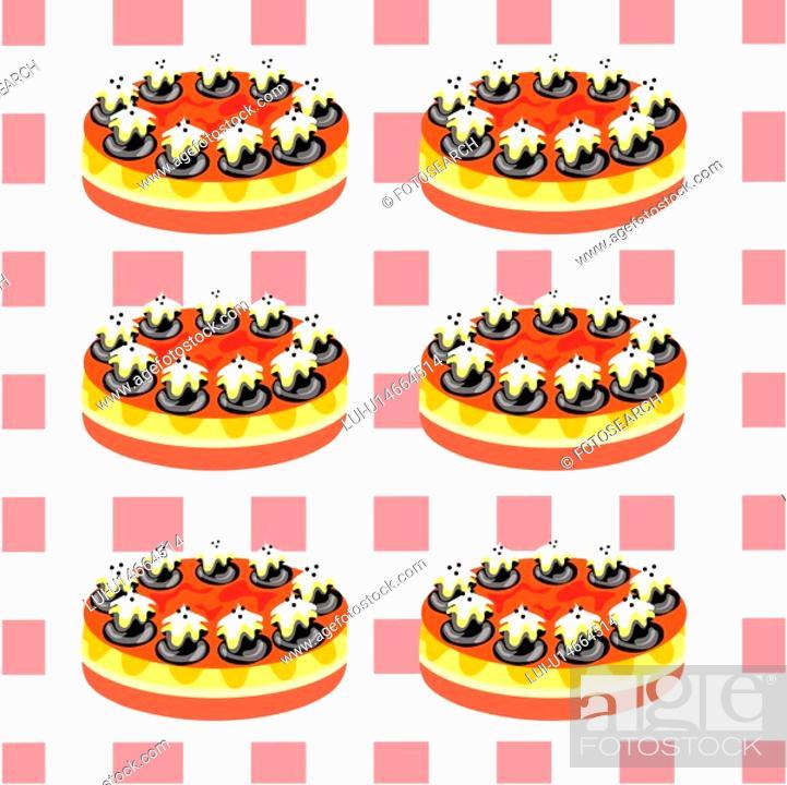 Stock Photo: indoors, wallpaper, background, cake, bread, design arts, pattern.