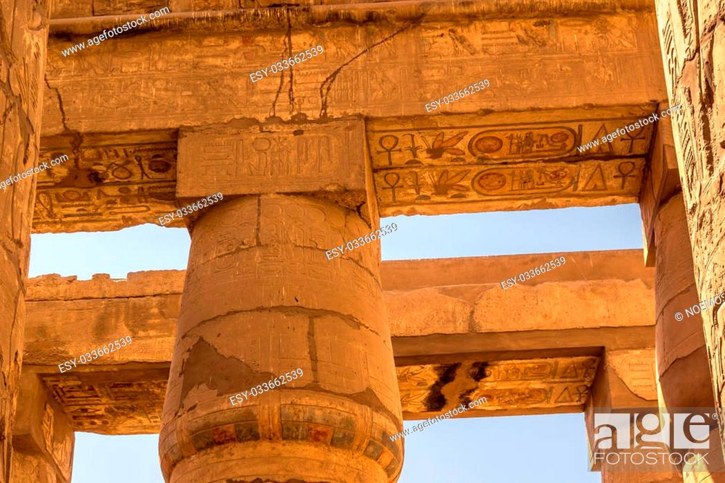 Stock Photo: a horizontal view of a detail of roof of the Great Hypostyle Hall of the Temple of Karnak, Luxor (Egypt).