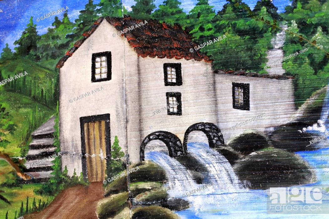 Stock Photo: Mural painting of rural home with water-mill.