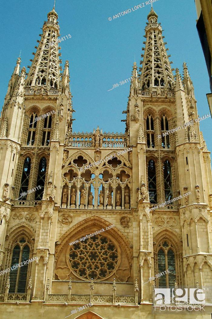Stock Photo: Main facade of the Cathedral. Burgos. Castilla-León. Spain.