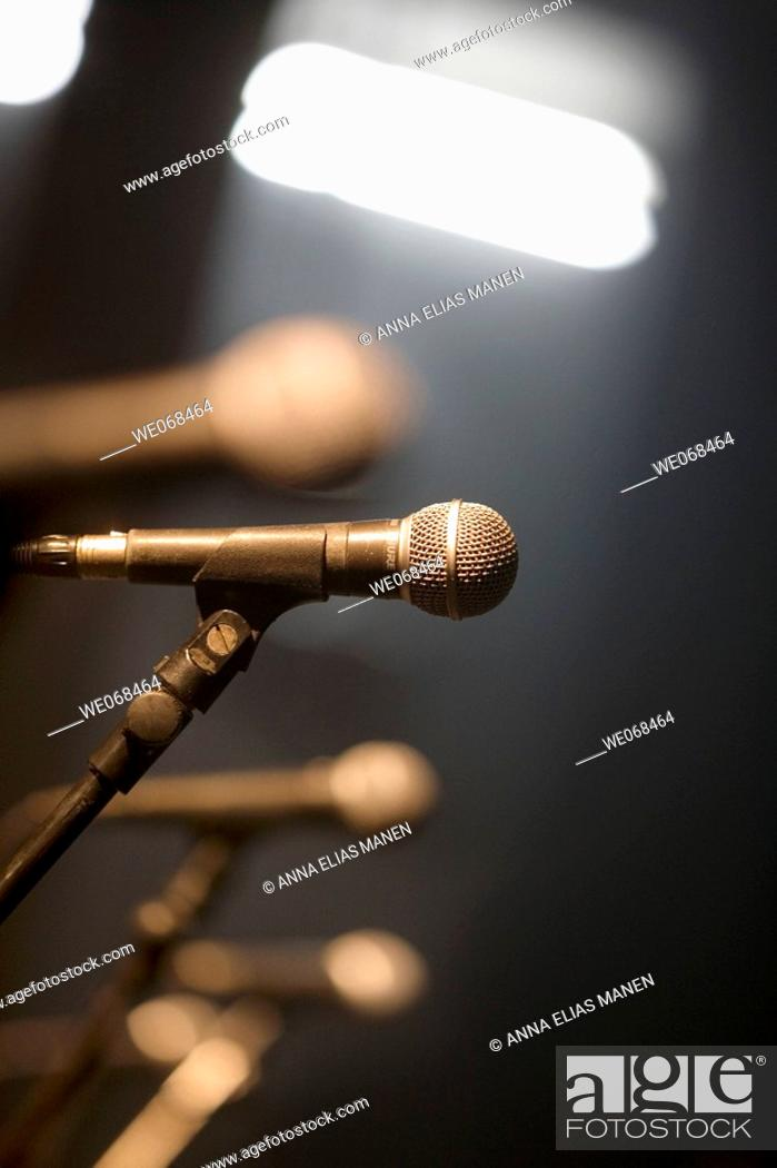 Stock Photo: Microphone on stage.