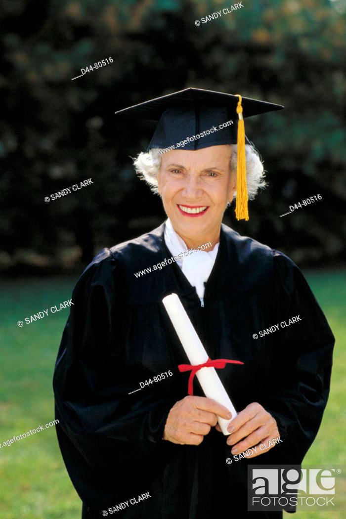 Stock Photo: Senior graduate woman.