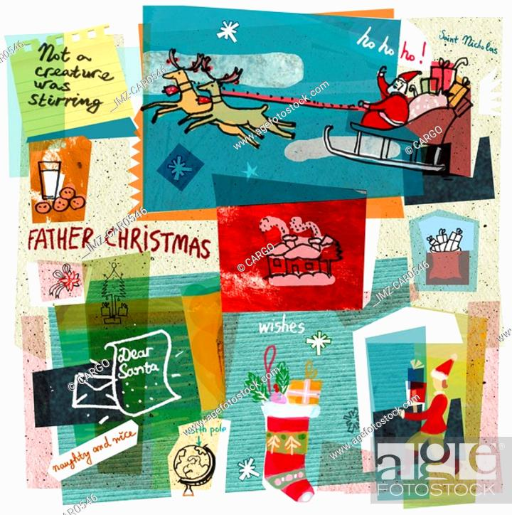 Stock Photo: A collage illustration Santa Claus delivering gifts on his sleigh.