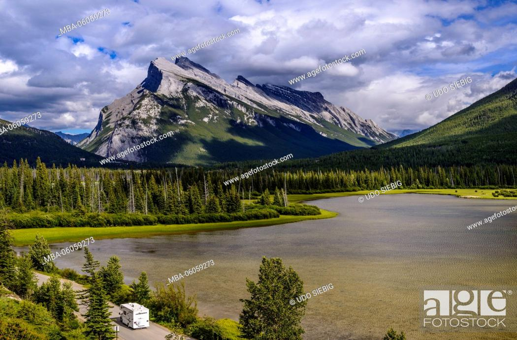 Stock Photo: Canada, Alberta, Banff National Park, Banff, Vermilion Lakes against Mount Rundle.