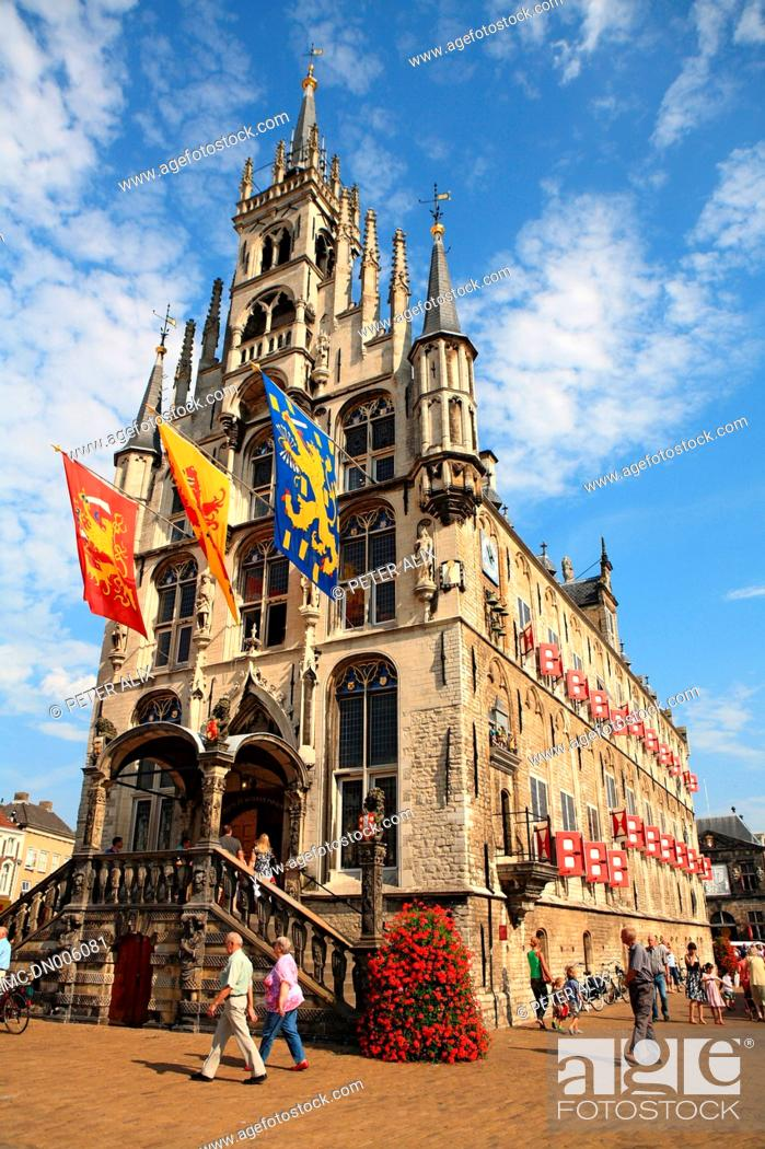 Stock Photo: The Netherlands, South Holland, Gouda, town hall.