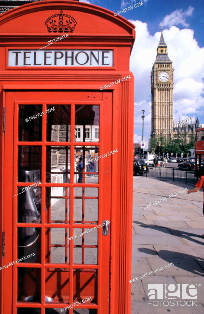 Stock Photo: Telephone booth and Big Ben. London. England.