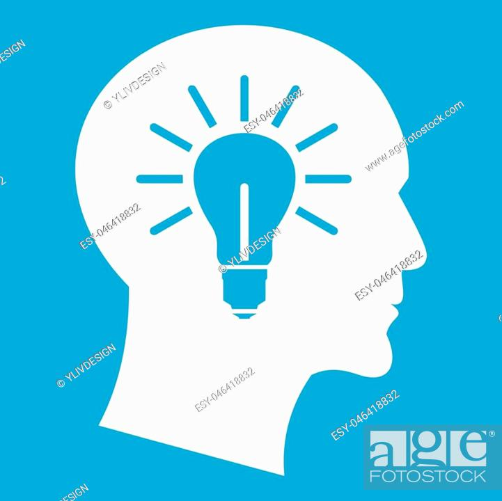 Vector: Light bulb inside head icon white isolated on blue background vector illustration.