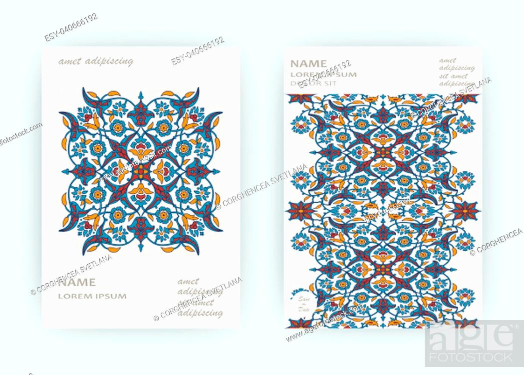 Stock Photo: Arabesque floral decoration print, border design template vector. Oriental flowers style pattern. Eastern motif element. Ornamental frame illustration.
