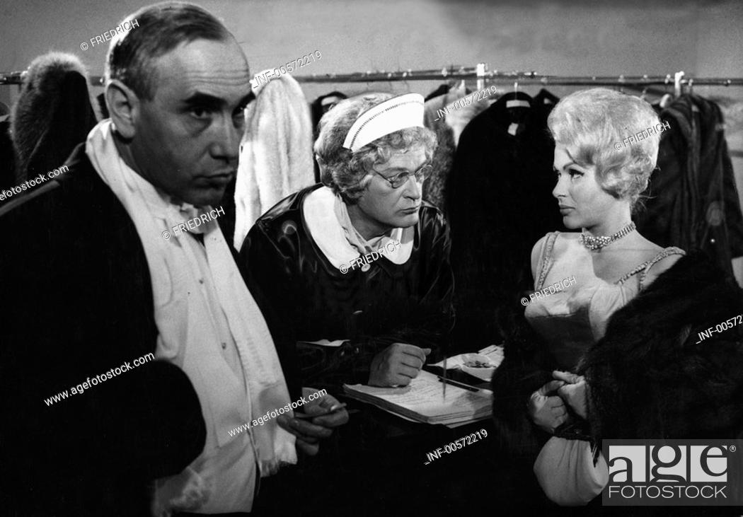 Stock Photo: movie, Bankraub in der Rue Latour, DEU 1961, director: Curd Juergens, scene with: Charles Regnier, Curd Juergens, Ingeborg Schoener, comedy, crime, half length.