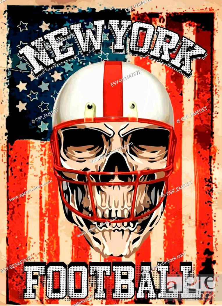 Imagen: American football Skull Vintage vector print for boy sportswear in custom colors.