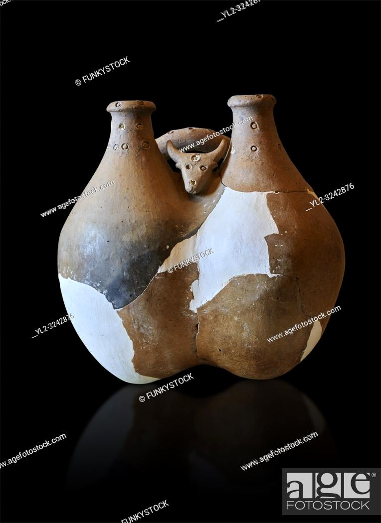 Stock Photo: Hittite terra cotta cult vessel decorated with a goat relief. Hittite Period 1650 - 1450 BC, Ortakoy Sapinuvwa . Çorum Archaeological Museum, Corum, Turkey.