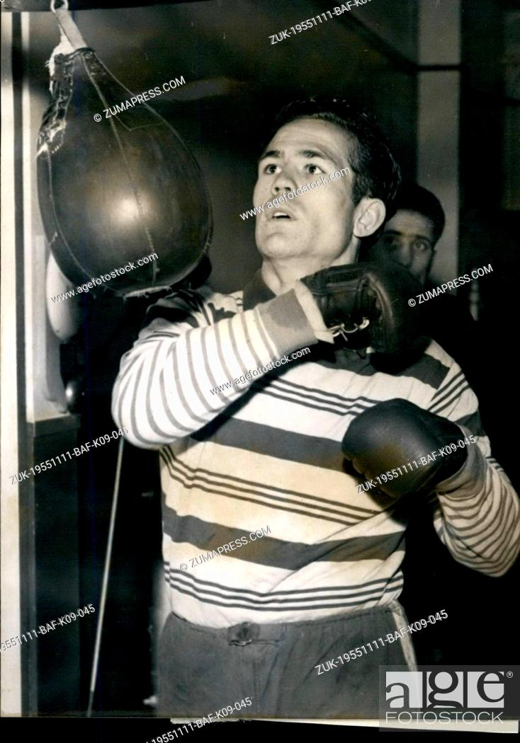 Stock Photo: Nov. 11, 1955 - Galiana To Fight ---echon At Palais Des Sports Paris: Title At Stake The Frenchman Ray Famechon will fight the Spanish Boxer Galiana for the.