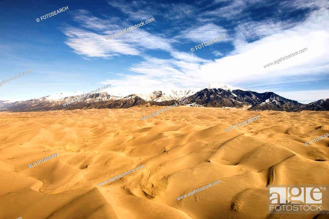Stock Photo: Aerial landscape of sand dunes in Great Sand Dunes National Park, Colorado.
