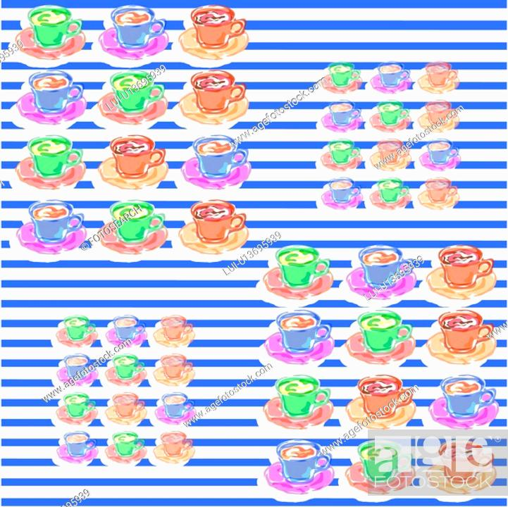 Stock Photo: background, wallpaper, stripe, tea, coffee, indoors, pattern.