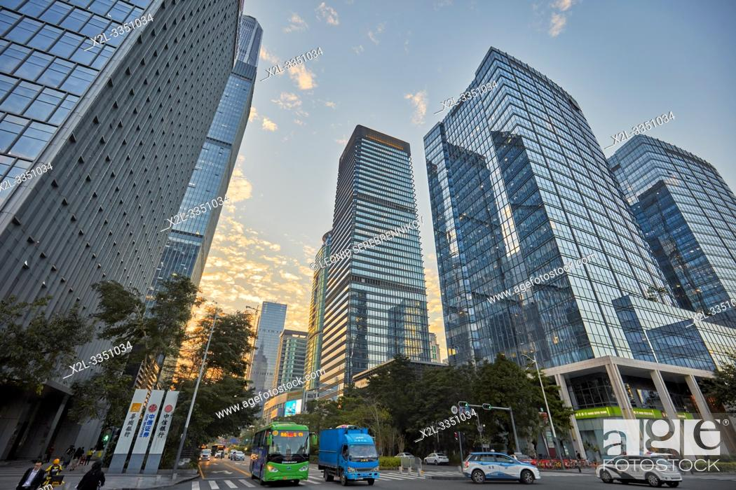 Stock Photo: Skyscrapers in Futian Central Business District. Shenzhen, Guangdong Province, China.