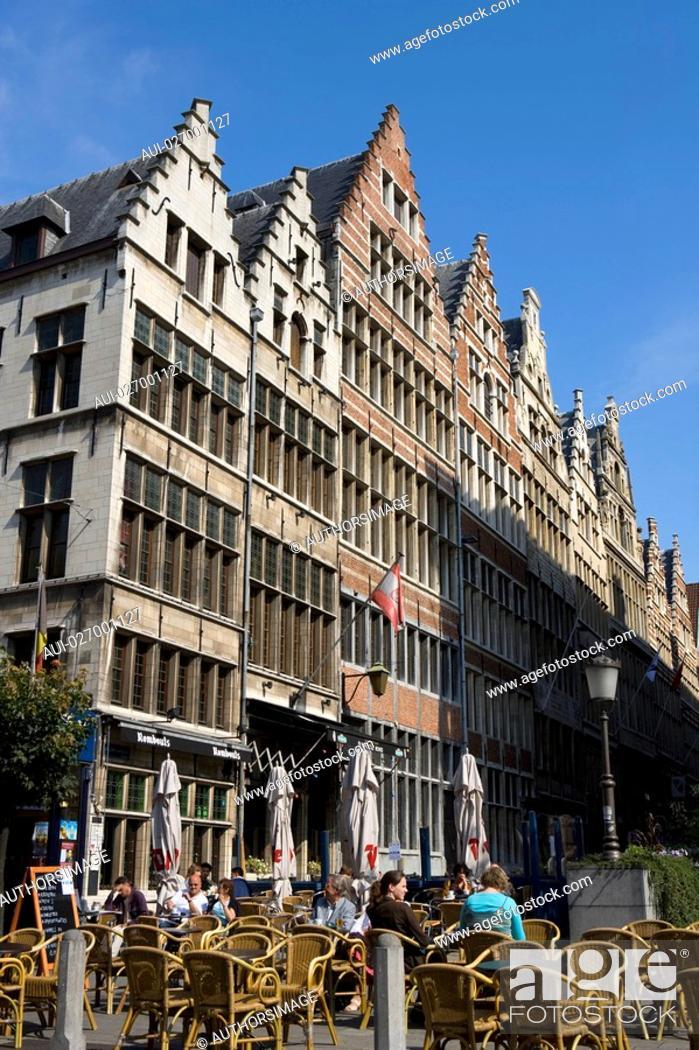 Stock Photo: Belgium - Flanders - Antwerp - Buildings of the street Gildekamersstraat Guildhouse Street.