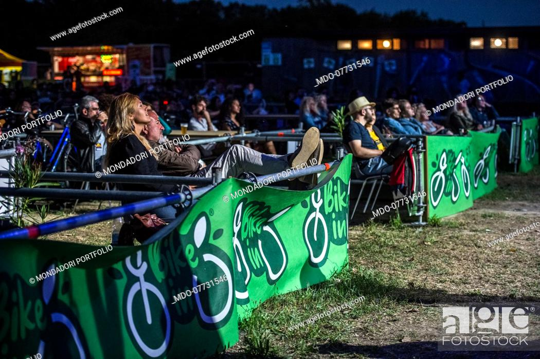 Stock Photo: The Drive-in for bicycles called Bike-In arrives in Mantua and inaugurates the open-air show season in Mantua after the lockdown due to the covid.