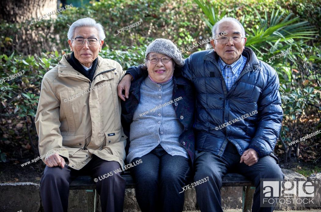 Stock Photo: Hiroshima Atomic Bomb Survivors, from left to right: Miyoji Kawasaki 1929, Jyunko Kayasige 1940 and Yukio Yoshioka 1939, Hiroshima, Japan.