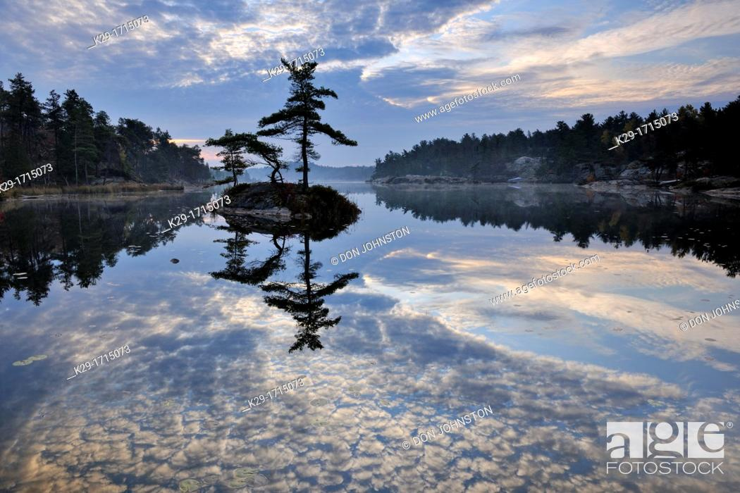 Stock Photo: A small island in McGregor Bay, Whitefish First Nation, Ontario, Canada.