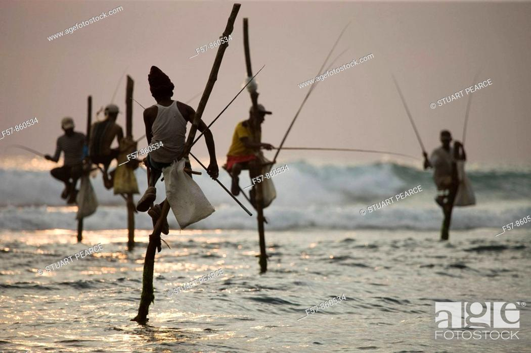 Stock Photo: Stilt fishermen, Koggala, Sri Lanka.