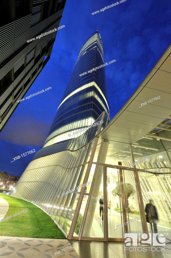 Stock Photo: New building of Iberdrola in Bilbao photographed at night, Iberdrola tower.