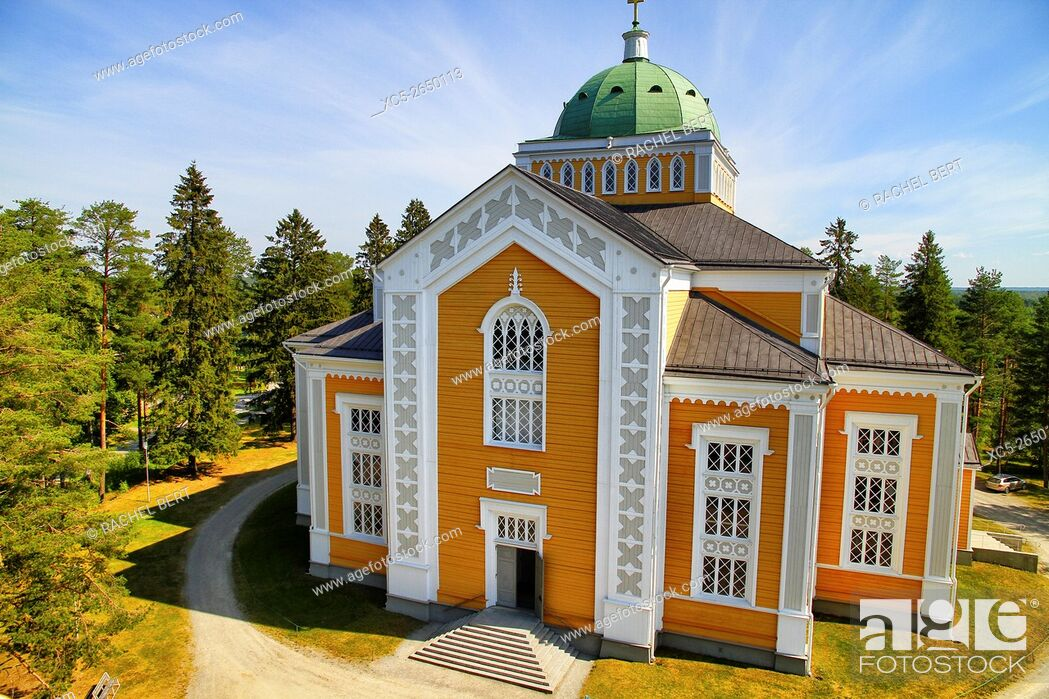 Stock Photo: Kerimäki Church, the largest wooden church in the world. Designed in 1844 by Anders Fredrik Granstedt. Kerimäki, Finland.