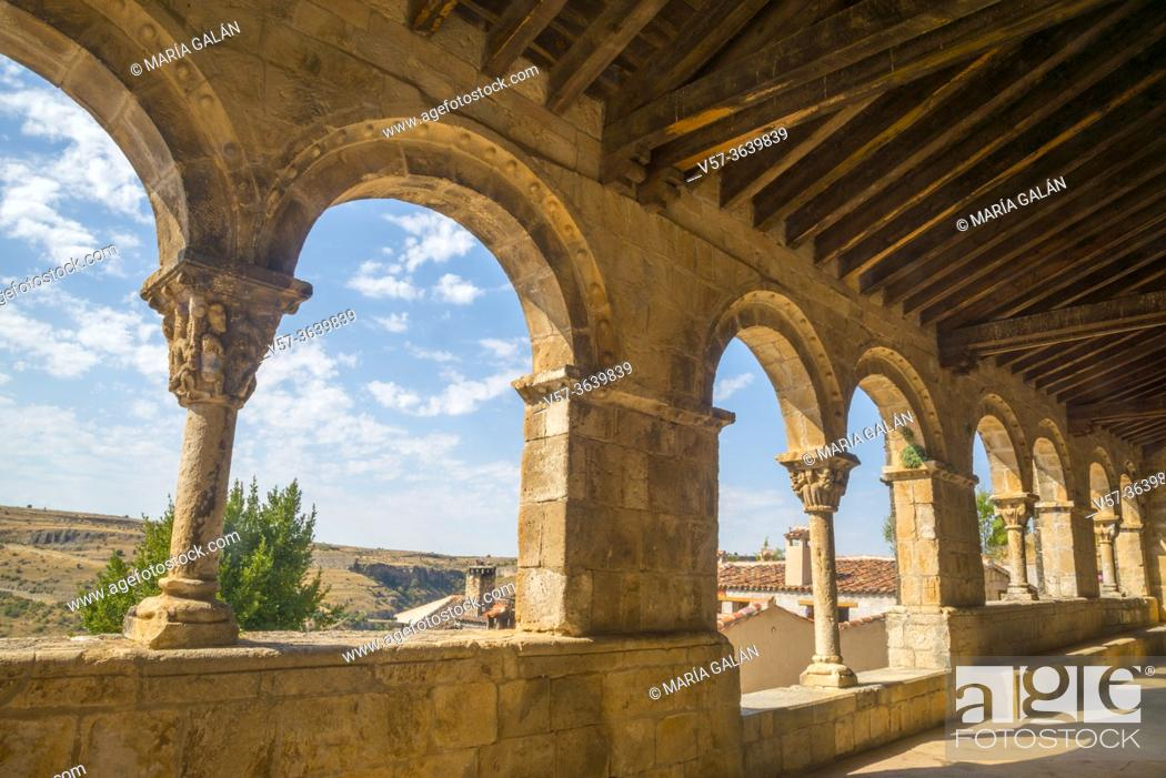 Stock Photo: Atrium of El Salvador church. Sepulveda, Segovia province, Castilla Leon, Spain.
