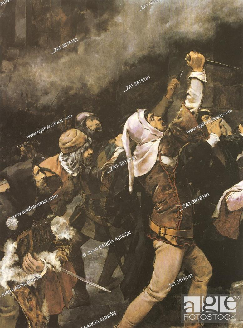 Stock Photo: Massacre of Jews carried out in the Middle Ages in the city of Toledo. Painted by Vicente Cutanda y Toraya in 1887. MBA Zaragoza.