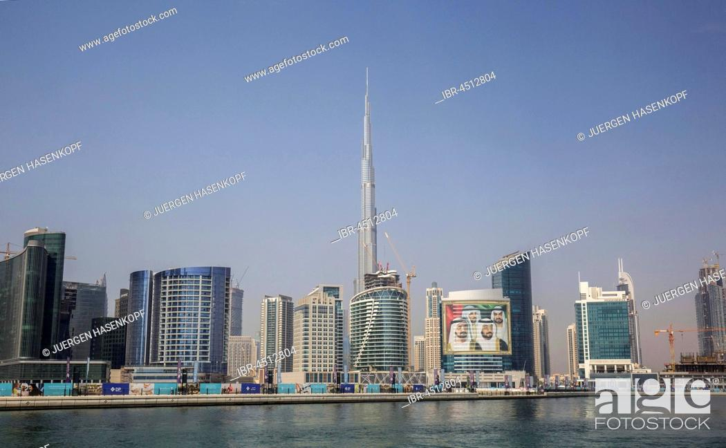 Stock Photo: Business Bay and New Downtown, at back Burj Khalifa, Dubai, United Arab Emirates.