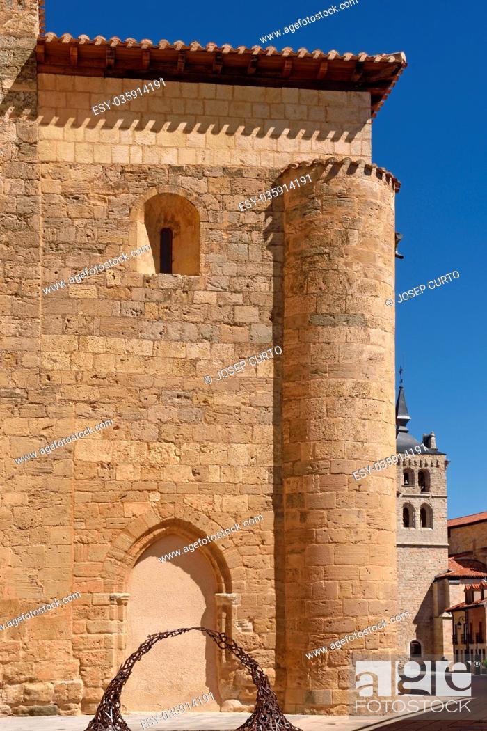 Stock Photo: Church of San Juan and the background church of Santa Maria, Aranda de Duero, Burgos province, Spain.