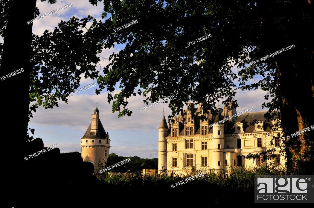 Stock Photo: France, Indre-et-Loire, Loire Valley, Château de Chenonceau, built between 1513 - 1521 in Renaissance style.