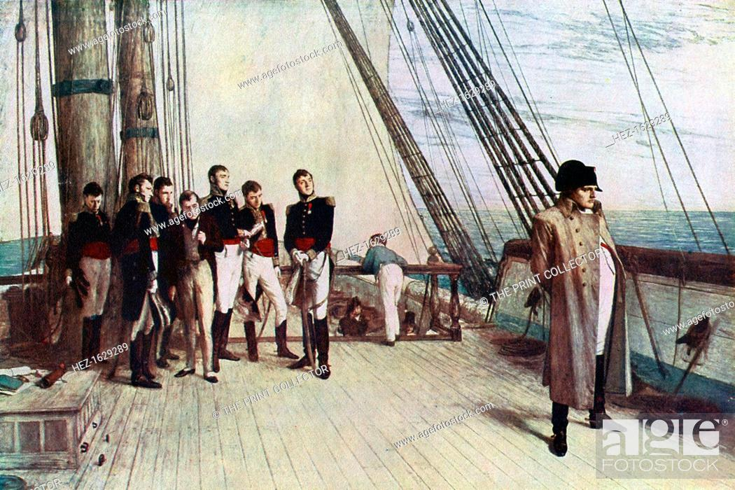 Stock Photo: 'Napoleon on Board the Bellerophon', 1815, (1880). In 1815, Napoleon Bonaparte (1769-1821) surrendered to a British naval officer.