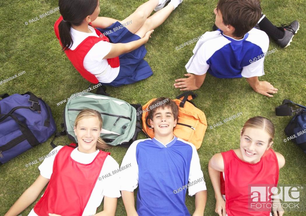 Stock Photo: Kids in school gym uniforms.