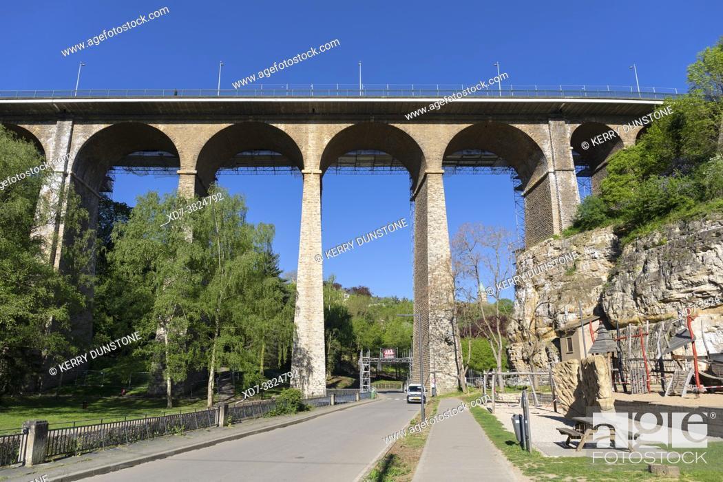 Stock Photo: Europe, Luxembourg, Luxembourg City, 'La Passerelle' Road Bridge across the Parcs de la Pétrusse.