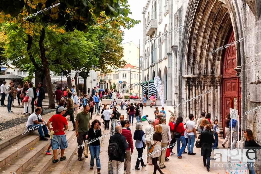 Stock Photo: Carmo Square, Lisbon, Portugal, Europe.