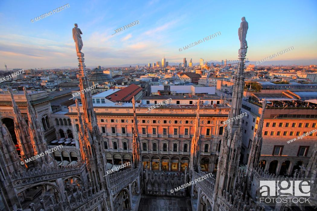 Stock Photo: Cityscape of Milan from the top of the Cathedral (Duomo), Milan, Italy.