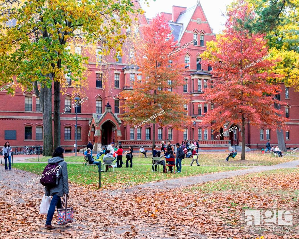 Stock Photo: CAMBRIDGE, MA, USA: Harvard Yard, old heart of Harvard University campus, on a beautiful Fall day in Cambridge, MA, USA.