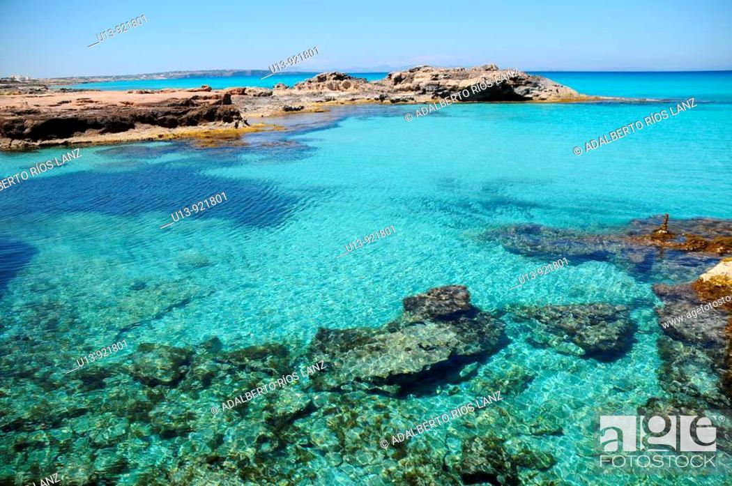 Stock Photo: Beach, Formentera, Balearic, Islands, Spain.
