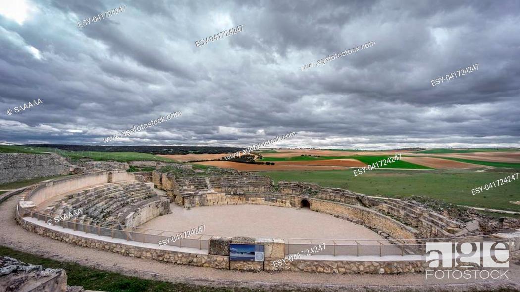 Stock Photo: Wide angle of antique Segobriga roman theatre ruins.