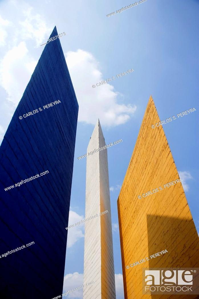 Stock Photo: Towers of Satellite in the north region of Mexico City, Mexico.