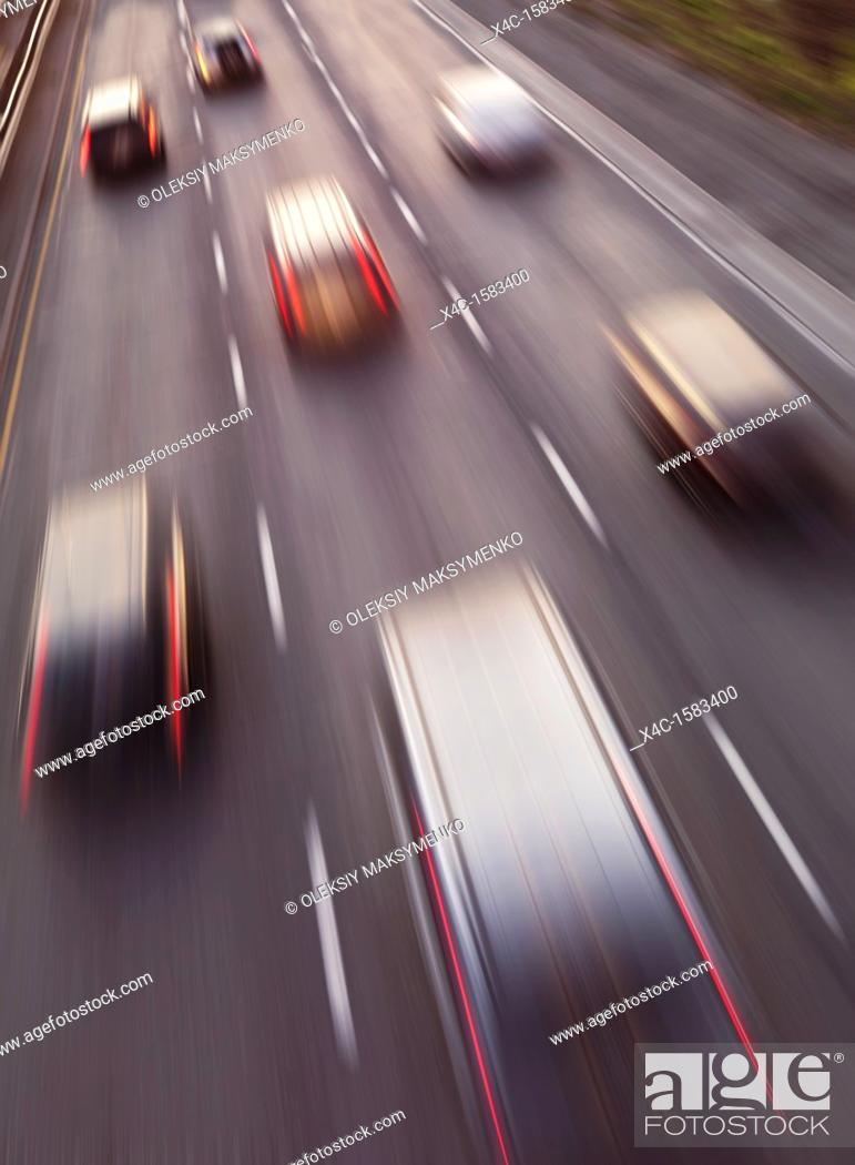 Stock Photo: Highway traffic in motion  Dynamic high angle view photo.