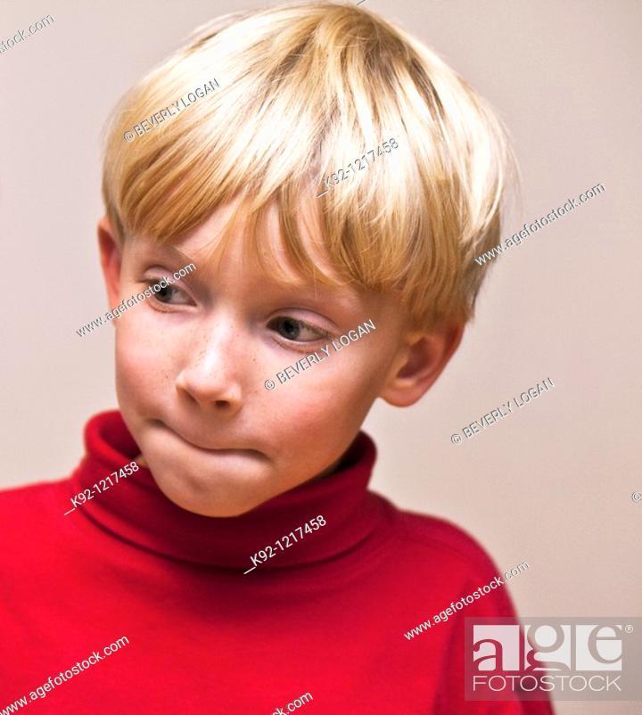 Stock Photo: Boy thinking.