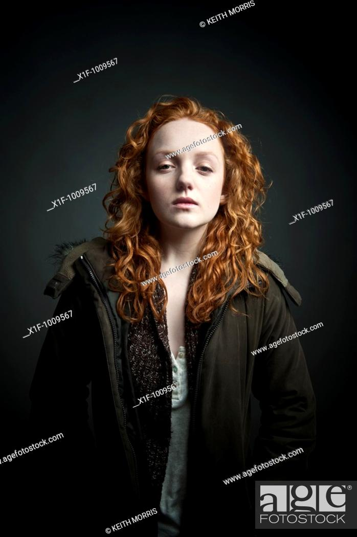 Stock Photo: red haired young woman.