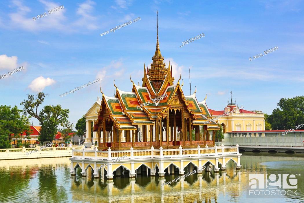Stock Photo: Aisawan-Dhipaya-Asana Pavilion, Bang Pa-In Summer Palace, Ayutthaya, Thailand. . .