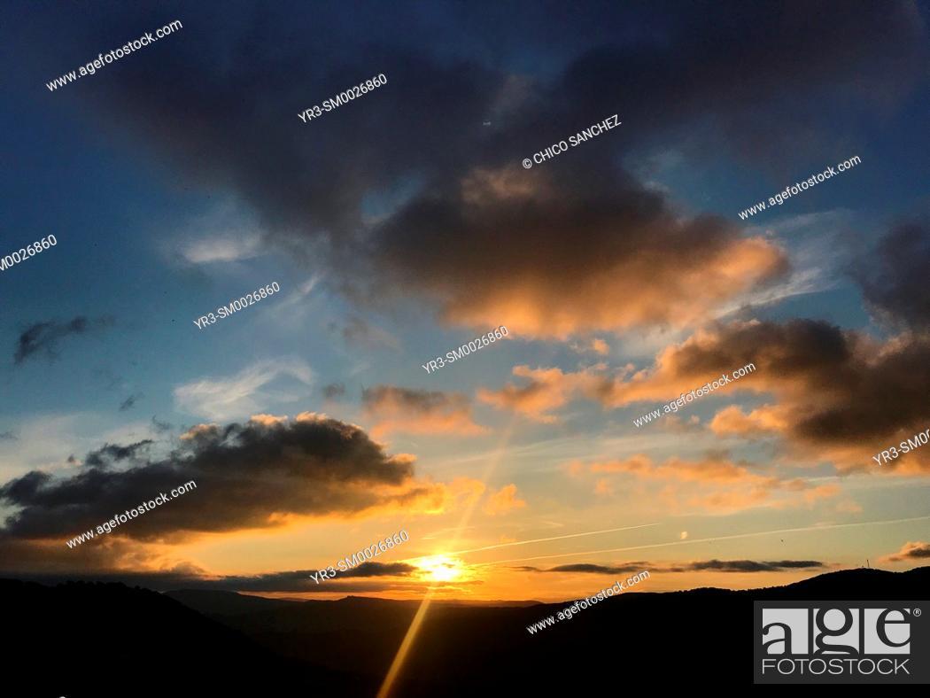 Stock Photo: Sunrise in Grazalema, Cadiz Province, Andalusia, Spain.