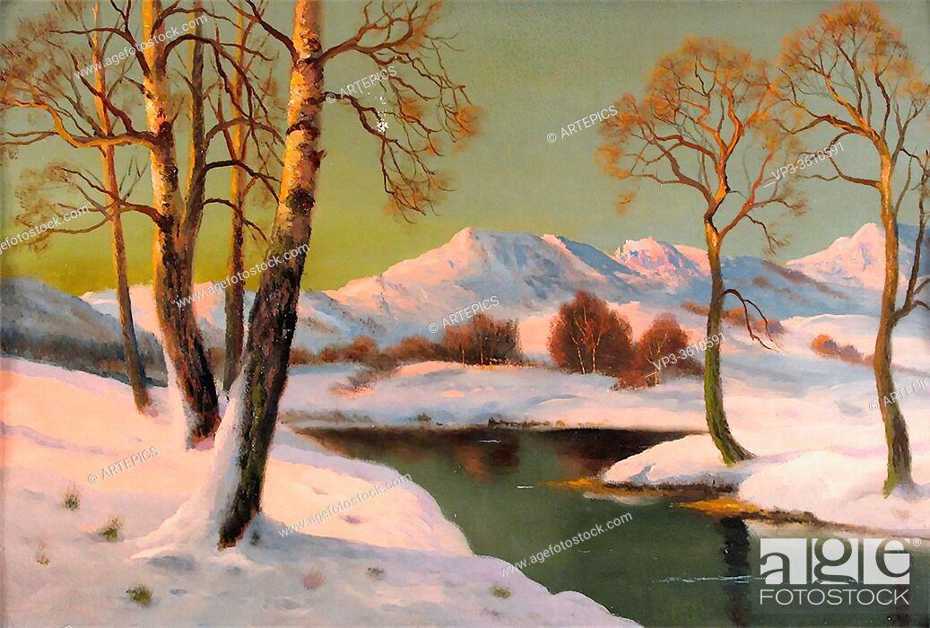 Stock Photo: Sherrin Daniel - Sunset over a Winter Landscape - British School - 19th Century.