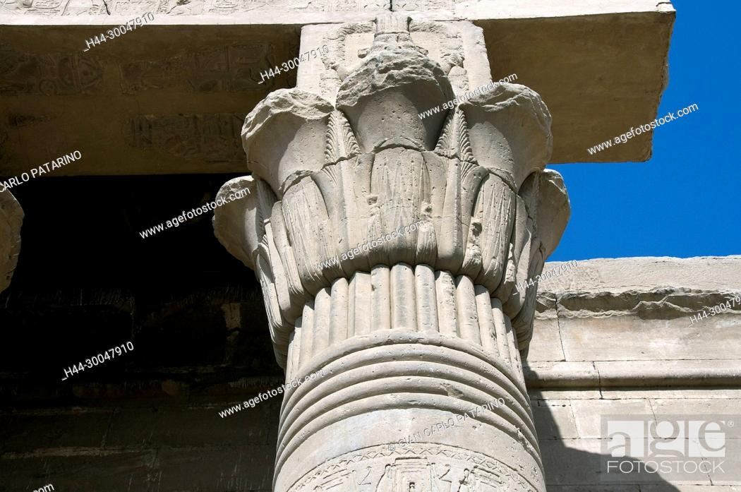 Stock Photo: Dendera Egypt, ptolemaic temple dedicated to the goddess Hathor. A capital floral.