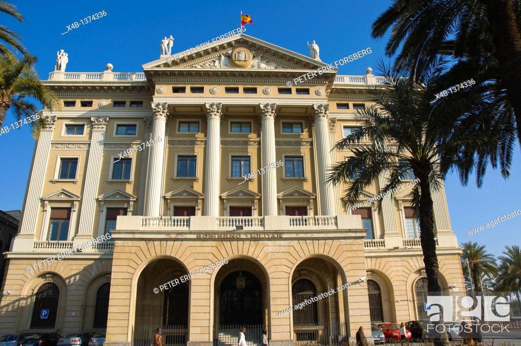 Stock Photo: Govern Militar building along La Rambla boulevard central Barcelona Catalunya Spain Europe.