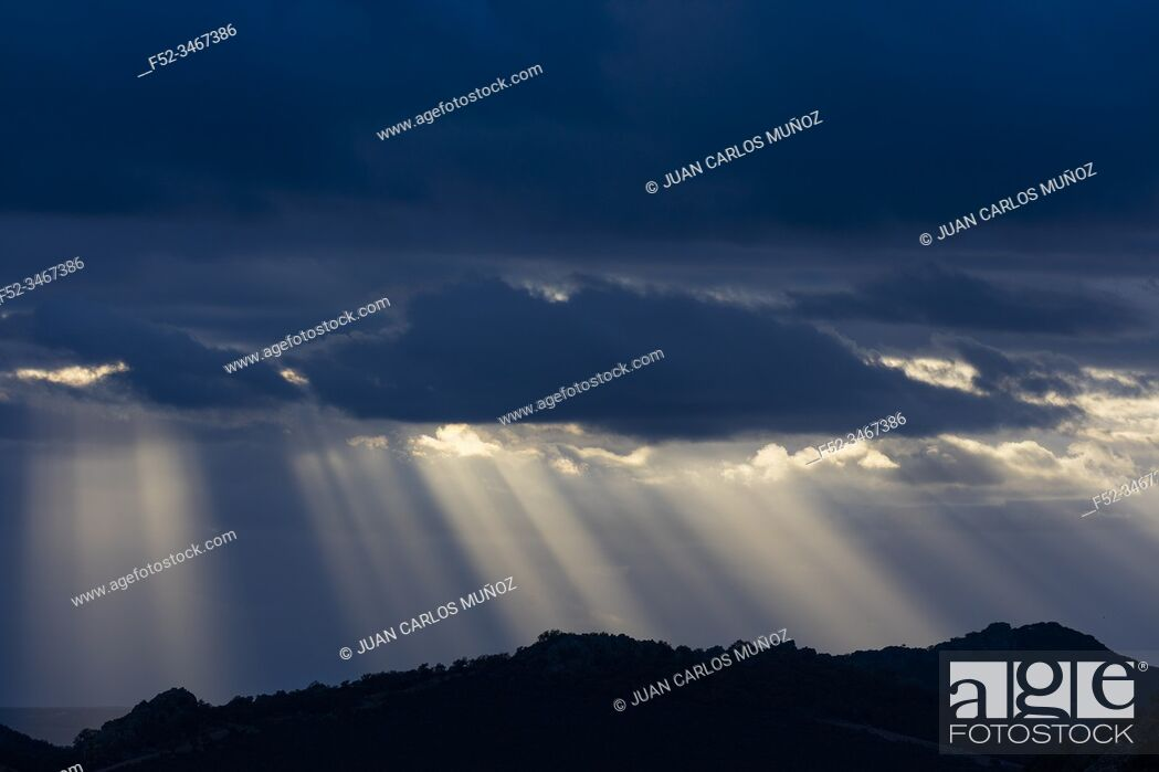 Stock Photo: Storm clouds, Mediterranean forest, Sierra de San Pedro, Cáceres, Extremadura, Spain, Europe.